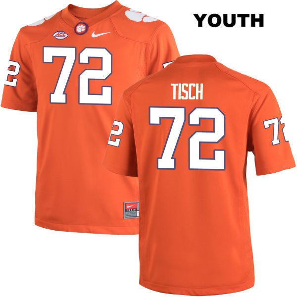 Stitched Logan Tisch Clemson Tigers no. 72 Youth Orange Nike Authentic College Football Jersey - Logan Tisch Jersey