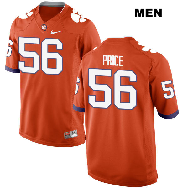 Luke Price Clemson Tigers Nike no. 56 Mens Stitched Orange Authentic College Football Jersey - Luke Price Jersey