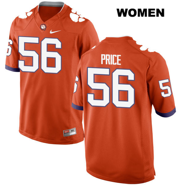 Luke Price Clemson Tigers no. 56 Nike Womens Stitched Orange Authentic College Football Jersey - Luke Price Jersey