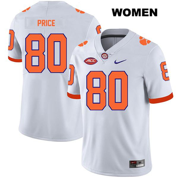 Luke Price Clemson Tigers no. 80 Nike Womens Legend White Stitched Authentic College Football Jersey