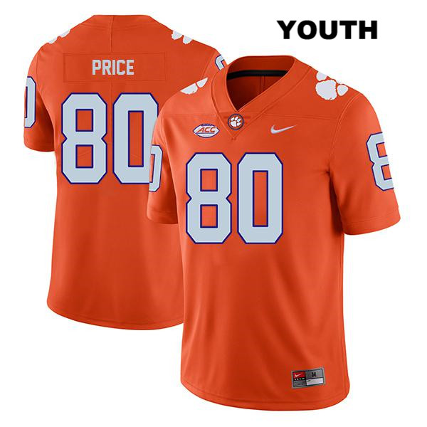 Stitched Luke Price Legend Nike Clemson Tigers no. 80 Youth Orange Authentic College Football Jersey - Luke Price Jersey