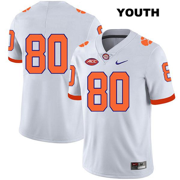 Luke Price Clemson Tigers Nike no. 80 Youth Legend White Stitched Authentic College Football Jersey - No Name - Luke Price Jersey