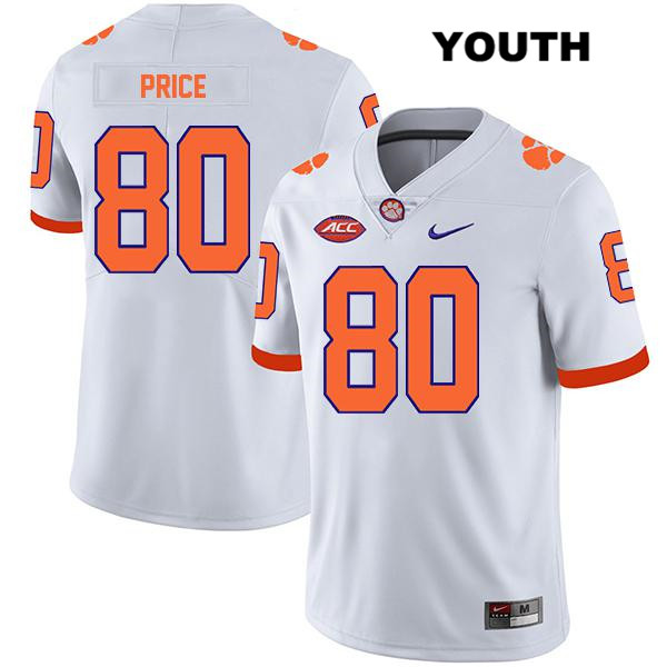 Luke Price Clemson Tigers Legend Stitched no. 80 Youth White Nike Authentic College Football Jersey - Luke Price Jersey