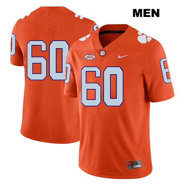 Mac Cranford Nike Clemson Tigers Legend no. 60 Mens Stitched Orange Authentic College Football Jersey - No Name - Mac Cranford Jersey