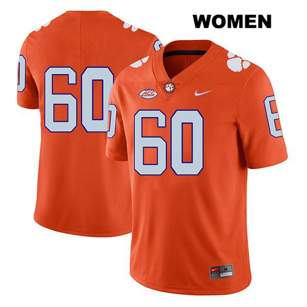 Mac Cranford Legend Clemson Tigers Nike no. 60 Womens Orange Stitched Authentic College Football Jersey - No Name - Mac Cranford Jersey