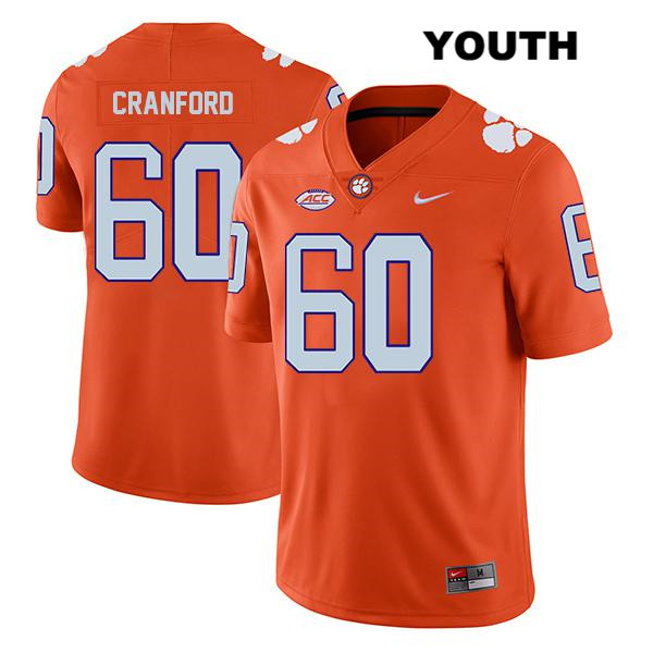 Mac Cranford Nike Clemson Tigers Stitched no. 60 Legend Youth Orange Authentic College Football Jersey - Mac Cranford Jersey