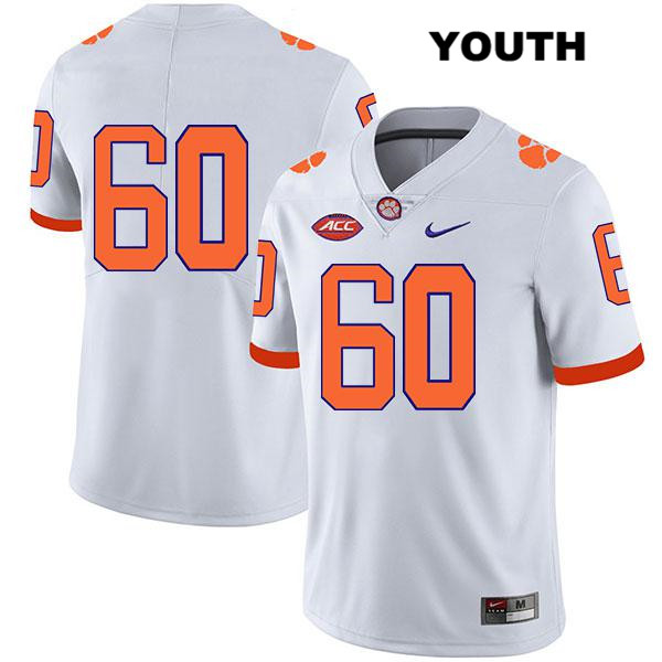 Mac Cranford Clemson Tigers Legend no. 60 Nike Youth Stitched White Authentic College Football Jersey - No Name - Mac Cranford Jersey