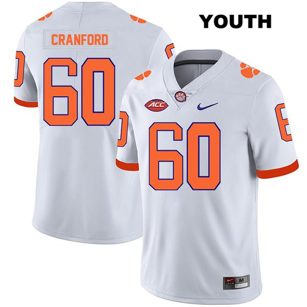 Mac Cranford Legend Clemson Tigers Stitched no. 60 Nike Youth White Authentic College Football Jersey - Mac Cranford Jersey