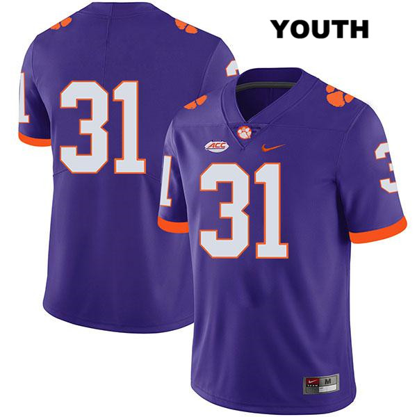 Mario Goodrich Clemson Tigers Nike no. 31 Legend Youth Purple Stitched Authentic College Football Jersey - No Name