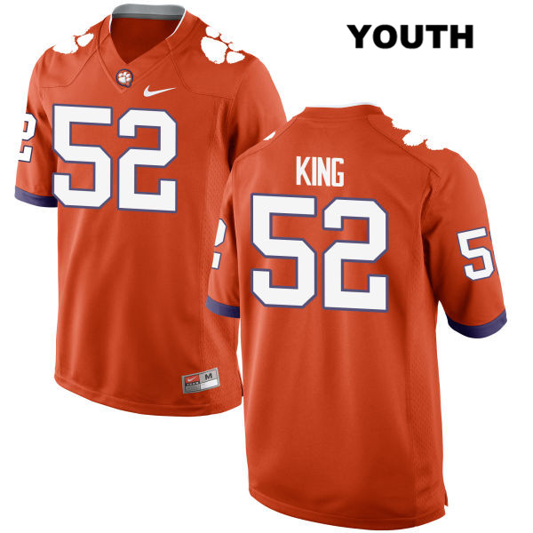 Matthew King Clemson Tigers no. 52 Nike Youth Orange Stitched Authentic College Football Jersey - Matthew King Jersey