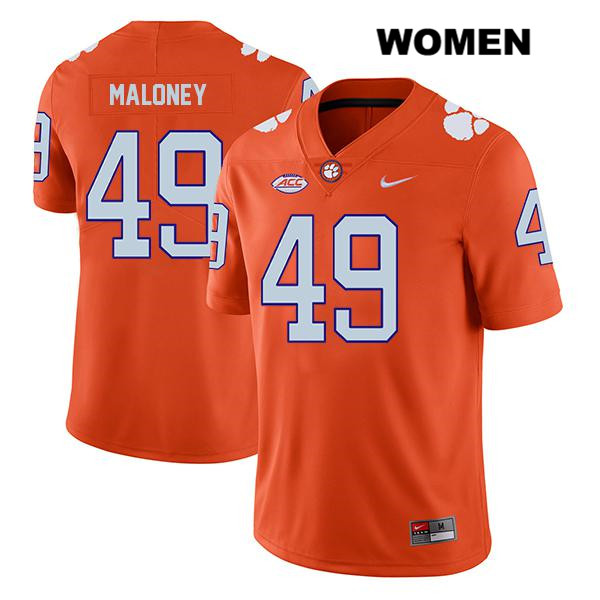 Matthew Maloney Clemson Tigers no. 49 Stitched Womens Legend Orange Nike Authentic College Football Jersey - Matthew Maloney Jersey