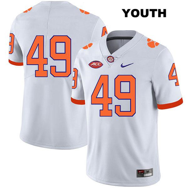 Matthew Maloney Legend Clemson Tigers Stitched no. 49 Youth White Nike Authentic College Football Jersey - No Name - Matthew Maloney Jersey
