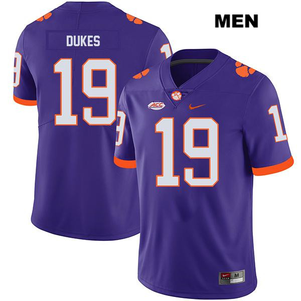 Michel Dukes Stitched Clemson Tigers no. 19 Legend Mens Nike Purple Authentic College Football Jersey - Michel Dukes Jersey