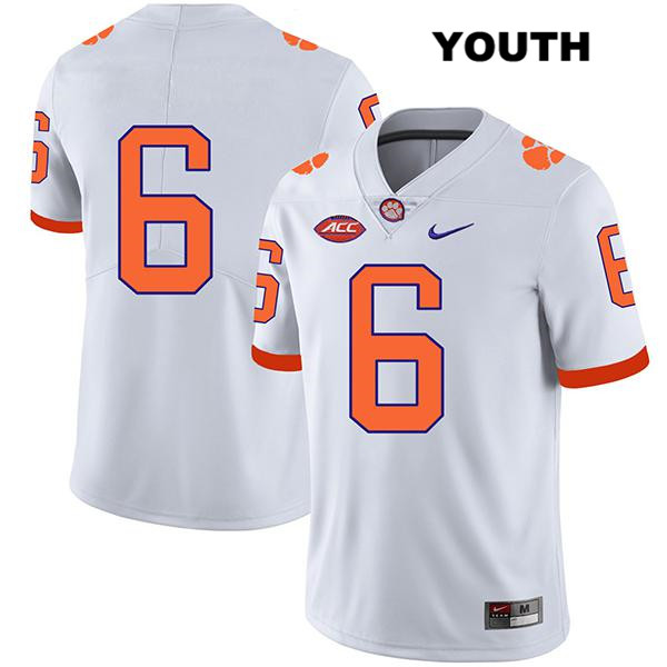 Mike Jones Jr. Nike Clemson Tigers no. 6 Stitched Youth Legend White Authentic College Football Jersey - No Name