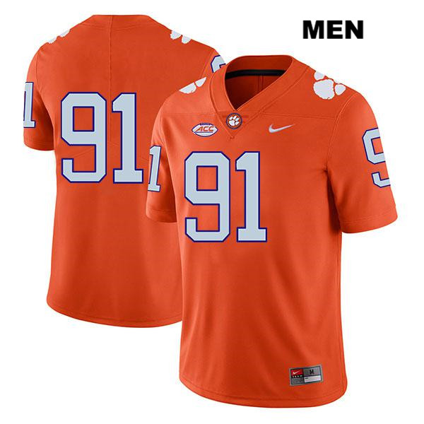 Nike Nick Eddis Stitched Clemson Tigers Legend no. 91 Mens Orange Authentic College Football Jersey - No Name - Nick Eddis Jersey