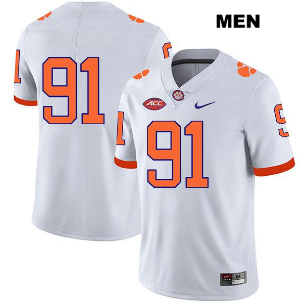 Nick Eddis Legend Clemson Tigers Stitched no. 91 Mens Nike White Authentic College Football Jersey - No Name - Nick Eddis Jersey