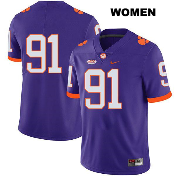 Nick Eddis Stitched Clemson Tigers Legend no. 91 Womens Nike Purple Authentic College Football Jersey - No Name - Nick Eddis Jersey