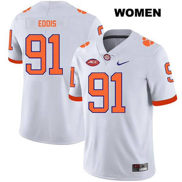 Stitched Nick Eddis Clemson Tigers no. 91 Legend Womens White Nike Authentic College Football Jersey - Nick Eddis Jersey