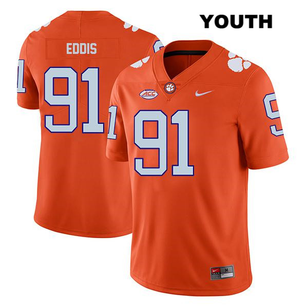 Nick Eddis Stitched Clemson Tigers Nike Legend no. 91 Youth Orange Authentic College Football Jersey - Nick Eddis Jersey