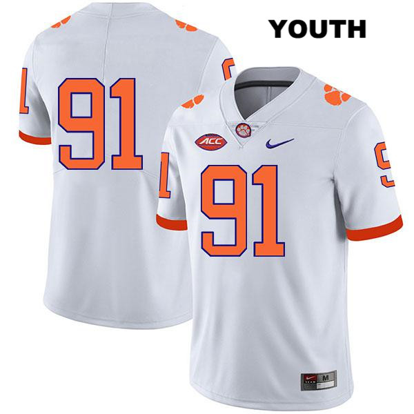 Nick Eddis Stitched Clemson Tigers no. 91 Nike Youth Legend White Authentic College Football Jersey - No Name - Nick Eddis Jersey