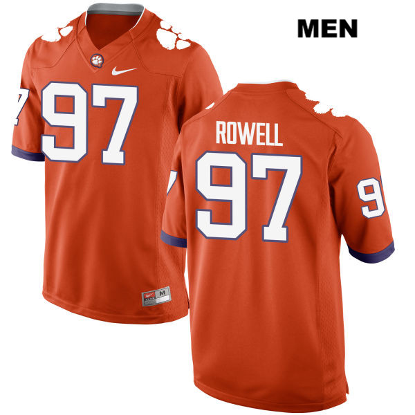Nick Rowell Nike Clemson Tigers no. 97 Mens Orange Stitched Authentic College Football Jersey - Nick Rowell Jersey