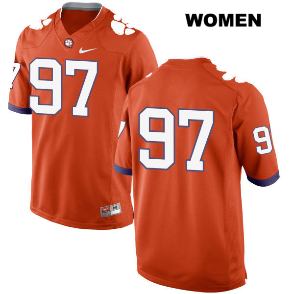 Nick Rowell Nike Clemson Tigers no. 97 Stitched Womens Orange Authentic College Football Jersey - No Name - Nick Rowell Jersey