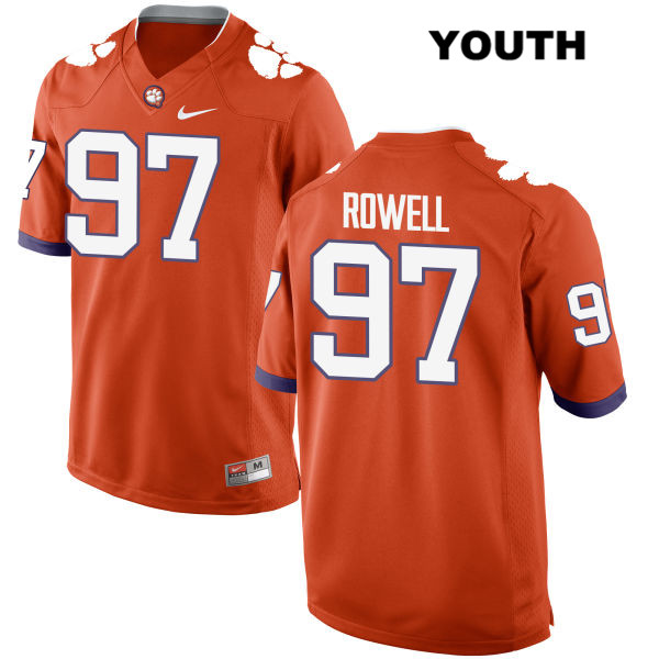 Nike Nick Rowell Clemson Tigers no. 97 Stitched Youth Orange Authentic College Football Jersey - Nick Rowell Jersey