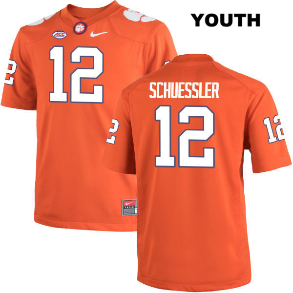 Nick Schuessler Stitched Clemson Tigers no. 12 Youth Orange Nike Authentic College Football Jersey - Nick Schuessler Jersey