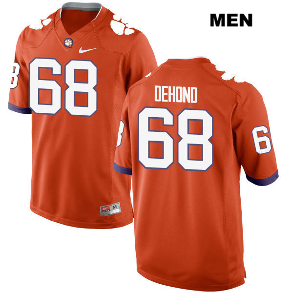 Noah DeHond Stitched Clemson Tigers no. 68 Nike Mens Orange Authentic College Football Jersey - Noah DeHond Jersey