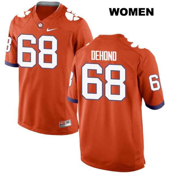 Noah DeHond Stitched Clemson Tigers no. 68 Womens Nike Orange Authentic College Football Jersey - Noah DeHond Jersey