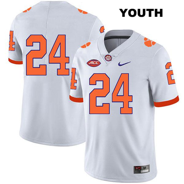 Nolan Turner Clemson Tigers no. 24 Stitched Youth Nike Legend White Authentic College Football Jersey - No Name - Nolan Turner Jersey