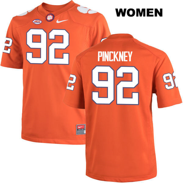 Nyles Pinckney Clemson Tigers no. 92 Stitched Womens Orange Nike Authentic College Football Jersey - Nyles Pinckney Jersey