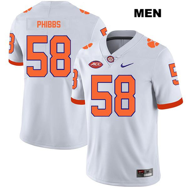 Patrick Phibbs Legend Clemson Tigers Nike no. 58 Mens White Stitched Authentic College Football Jersey - Patrick Phibbs Jersey