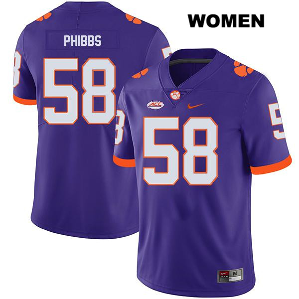 Patrick Phibbs Stitched Clemson Tigers no. 58 Legend Womens Nike Purple Authentic College Football Jersey - Patrick Phibbs Jersey