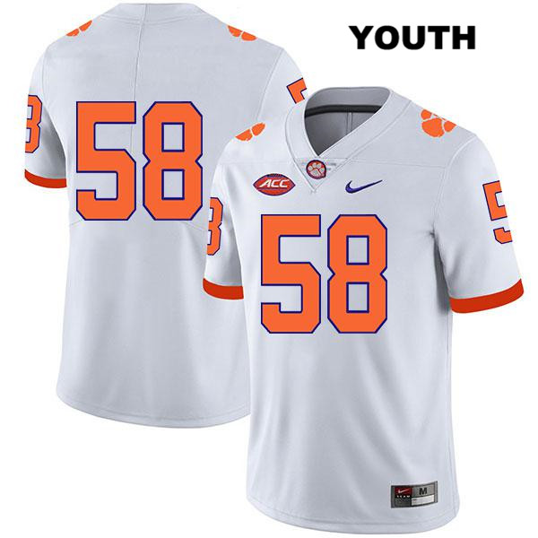 Patrick Phibbs Stitched Clemson Tigers Nike no. 58 Legend Youth White Authentic College Football Jersey - No Name - Patrick Phibbs Jersey
