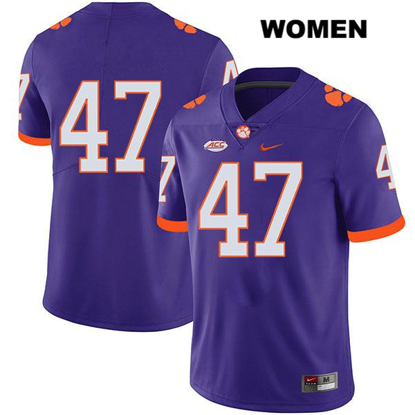 Peter Cote Clemson Tigers Legend no. 47 Stitched Womens Purple Nike Authentic College Football Jersey - No Name