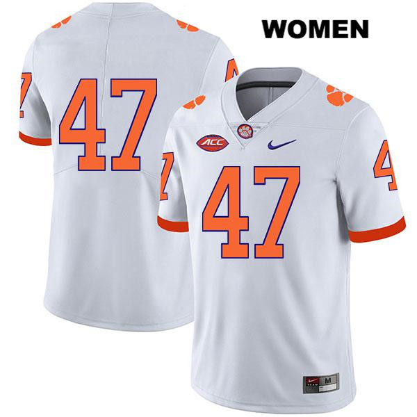 Peter Cote Legend Clemson Tigers no. 47 Stitched Womens White Nike Authentic College Football Jersey - No Name - Peter Cote Jersey