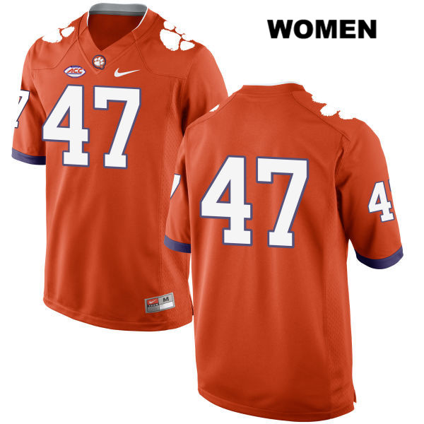 Peter Cote Clemson Tigers Style 2 no. 47 Stitched Womens Nike Orange Authentic College Football Jersey - No Name - Peter Cote Jersey
