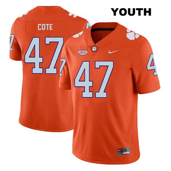 Peter Cote Nike Clemson Tigers Legend Stitched no. 47 Youth Orange Authentic College Football Jersey - Peter Cote Jersey