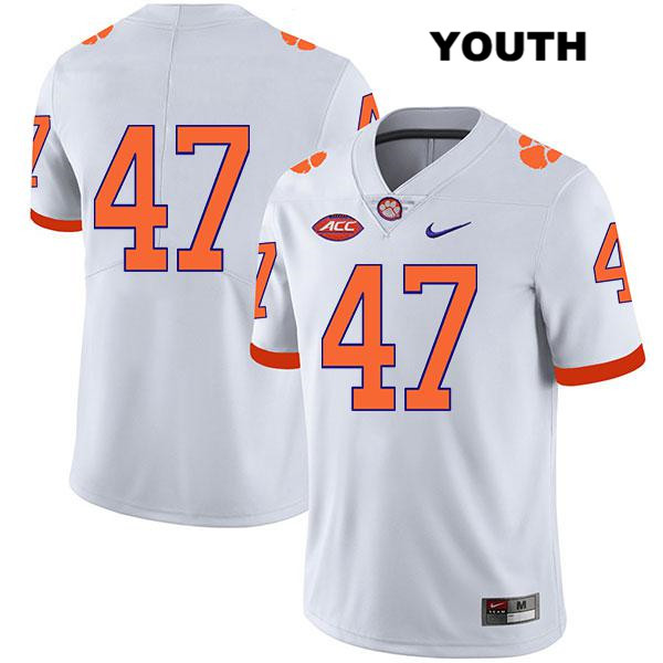 Peter Cote Stitched Clemson Tigers no. 47 Youth Legend White Nike Authentic College Football Jersey - No Name - Peter Cote Jersey