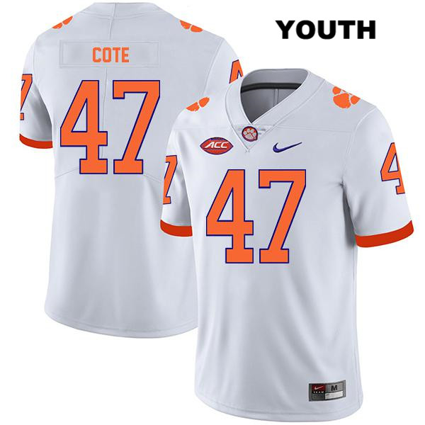 Peter Cote Clemson Tigers no. 47 Nike Youth Legend White Stitched Authentic College Football Jersey - Peter Cote Jersey