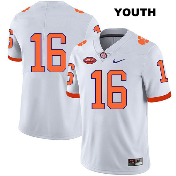Nike Ray Thornton III Clemson Tigers no. 16 Legend Youth White Stitched Authentic College Football Jersey - No Name - Ray Thornton III Jersey