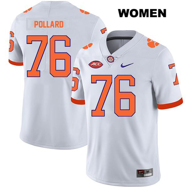 Nike Sean Pollard Legend Stitched Clemson Tigers no. 76 Womens White Authentic College Football Jersey