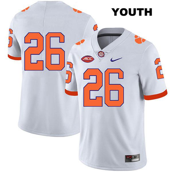 Sheridan Jones Nike Stitched Clemson Tigers no. 26 Youth Legend White Authentic College Football Jersey - No Name - Sheridan Jones Jersey