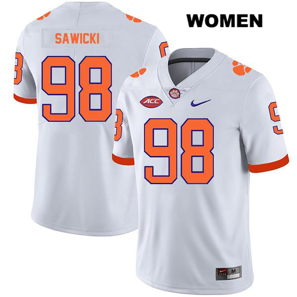 Nike Steven Sawicki Clemson Tigers no. 98 Legend Womens Stitched White Authentic College Football Jersey - Steven Sawicki Jersey