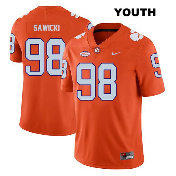 Steven Sawicki Clemson Tigers Nike no. 98 Legend Youth Orange Stitched Authentic College Football Jersey