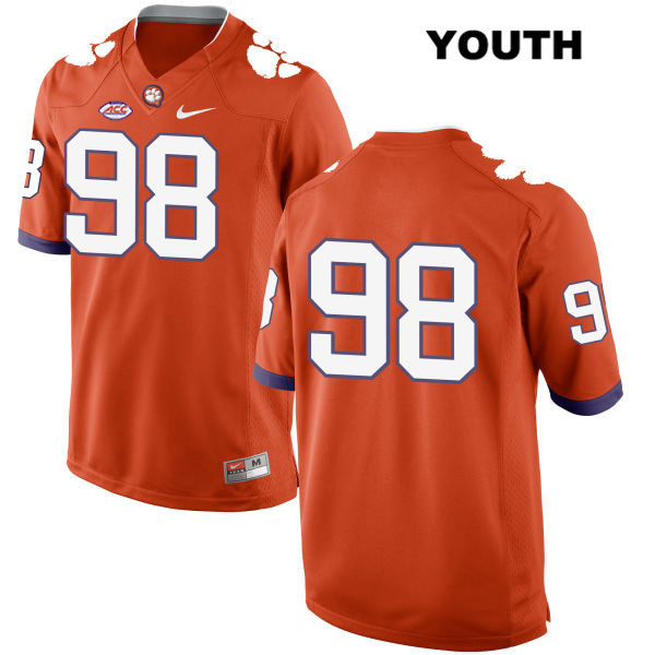 Steven Sawicki Clemson Tigers Nike no. 98 Youth Stitched Orange Style 2 Authentic College Football Jersey - No Name - Steven Sawicki Jersey