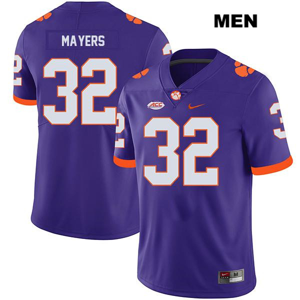 Sylvester Mayers Stitched Clemson Tigers no. 32 Legend Mens Nike Purple Authentic College Football Jersey - Sylvester Mayers Jersey