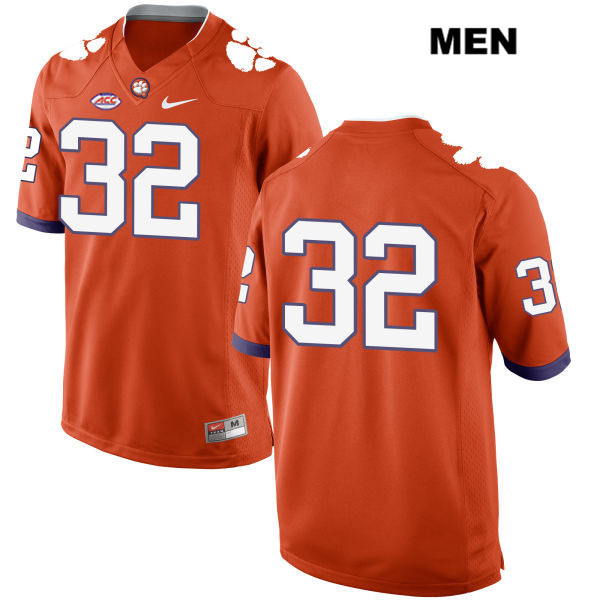 Stitched Sylvester Mayers Style 2 Clemson Tigers no. 32 Nike Mens Orange Authentic College Football Jersey - No Name - Sylvester Mayers Jersey
