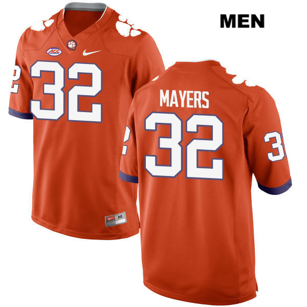 Sylvester Mayers Nike Stitched Clemson Tigers no. 32 Style 2 Mens Orange Authentic College Football Jersey - Sylvester Mayers Jersey